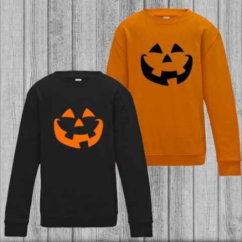 Kids Pumpkin Face Halloween Sweatshirt
